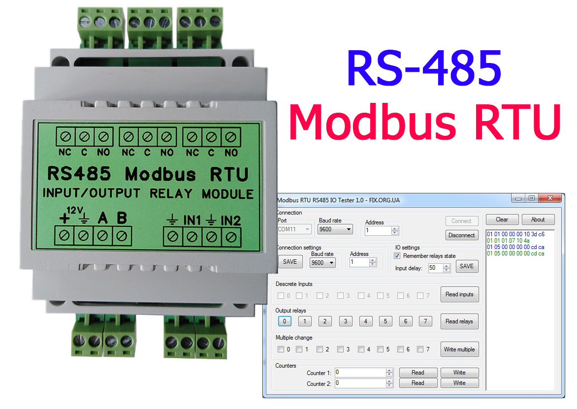 RS485 Modbus RTU Relay DIN Rail, 8 channels relay + 8 inputs, 2 counters